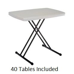 Lifetime 8240 40 Pack 30x20 In Adjustable Personal Folding Table Folding Laptop Table Folding Table Tray Table