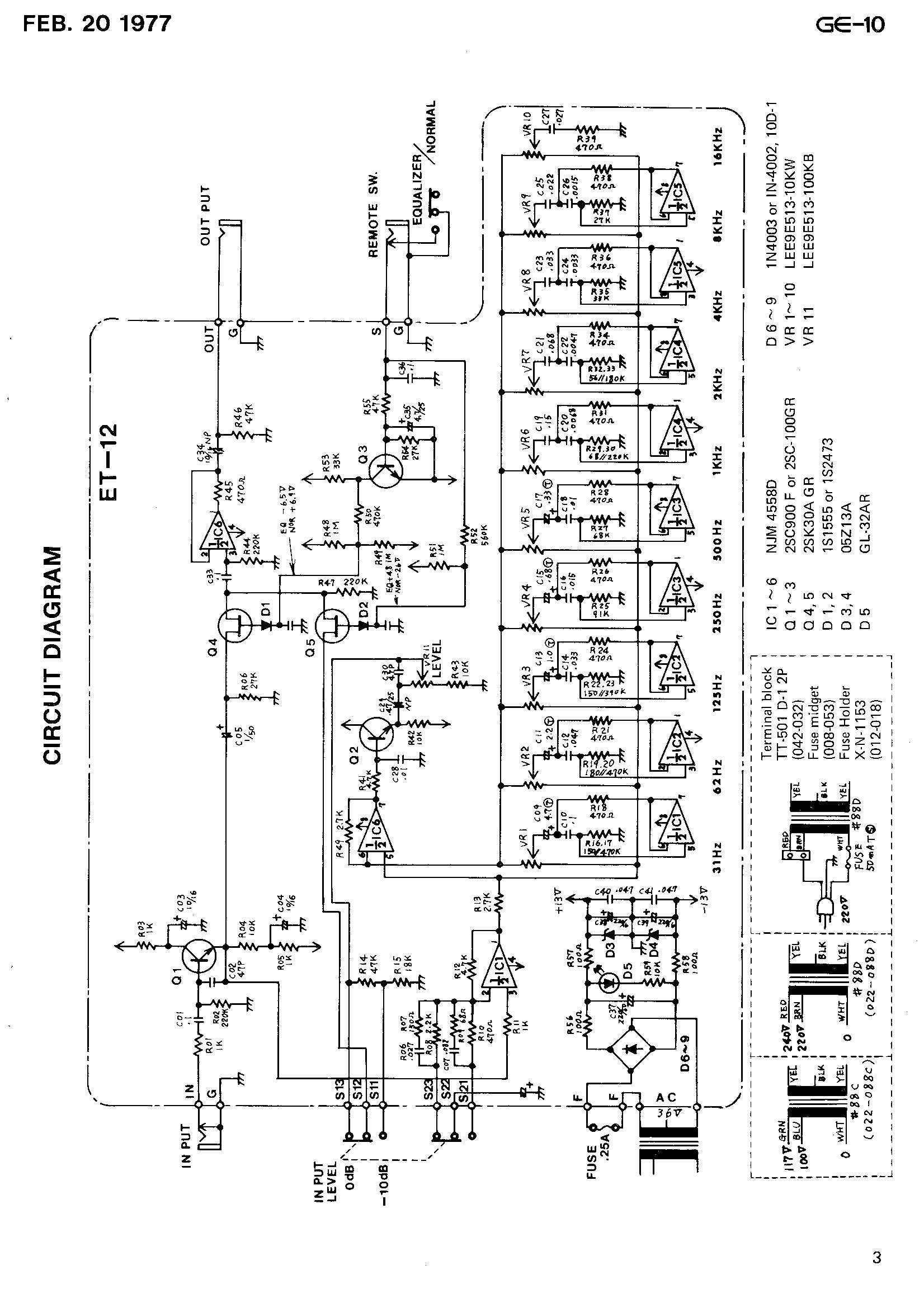 BOSS GE-10 SERVICE NOTE P.3 CIRCUIT DIAGRAM