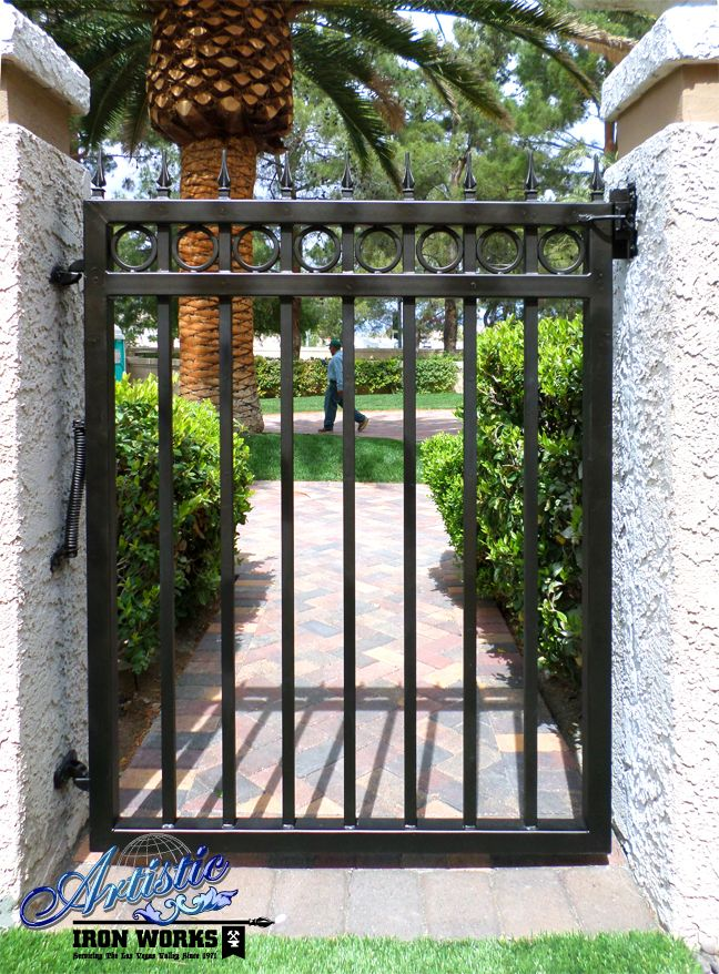 Wrought Iron Side Gate With Circles And Spear Finials The