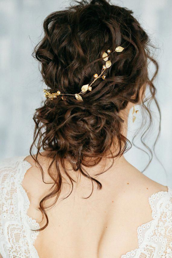 Gold bridal hair piece Bridal pearl crystal hair comb bridal | Etsy