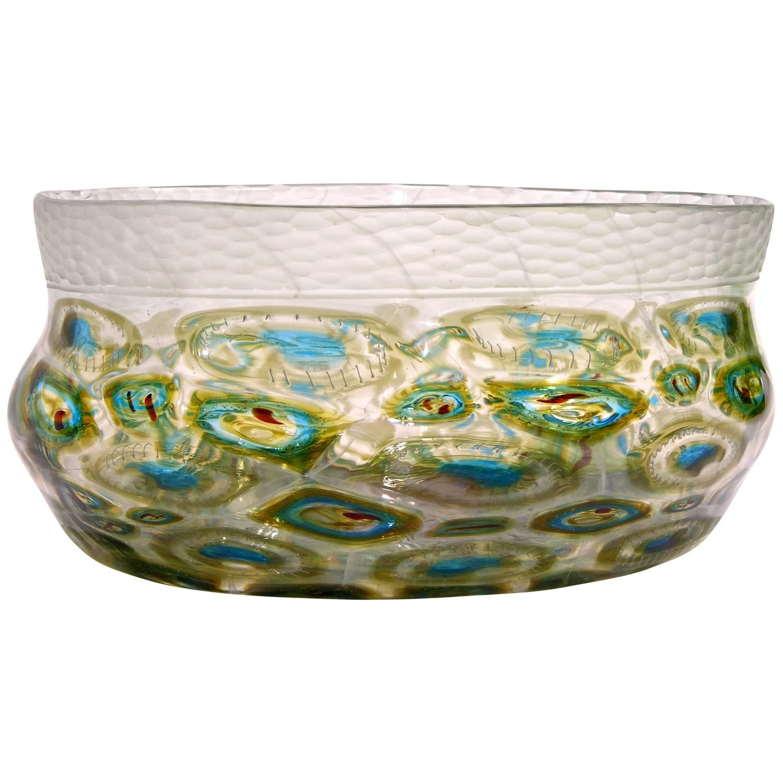 Unique Decorative Bowls Afro Celotto Art Deco Design Glass Bowl With Peacock Murrine And