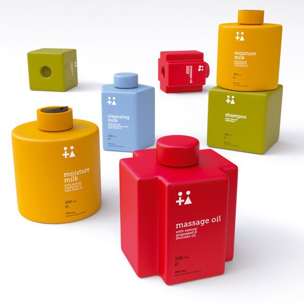 Clever & Beautiful Toiletry Bottles That Stack Up Like LEGO Bricks - DesignTAXI.com