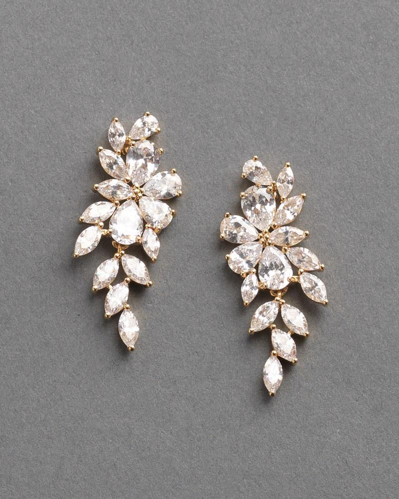 1dcb29372 Gold Cubic Zirconia Dangle Wedding Earrings for beautiful affordable  jewelery come visit us at www.