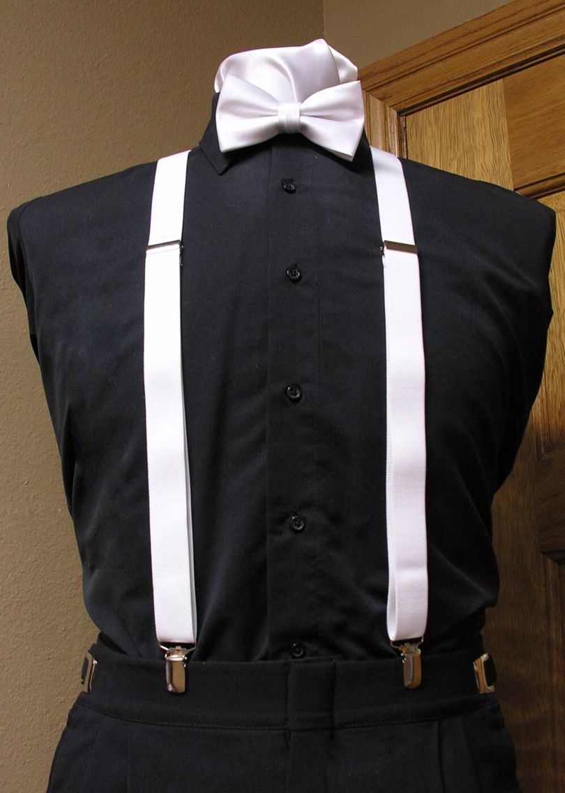 06bcbb38d Black shirt with white suspenders and bow tie