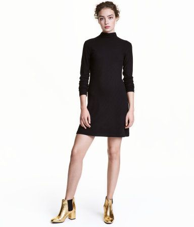Black Short Fitted Dress In Ribbed Viscose Jersey With A Mock Turtleneck And Long Sleeves Dresses Clothes For Women Jersey Dress