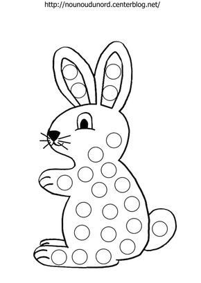Lapins Pour Gommettes A Colorier Et En Couleur Easter Preschool Do A Dot Preschool Crafts