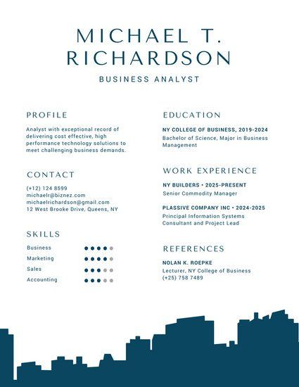 Blue Building Silhouette Infographic Resume