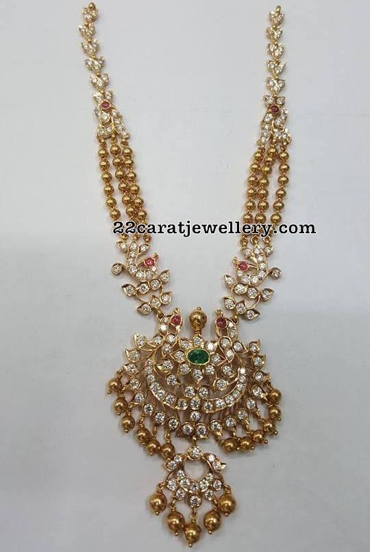 Triple Layer Gold Beads Chain Jewellery Designs Gold Diamond