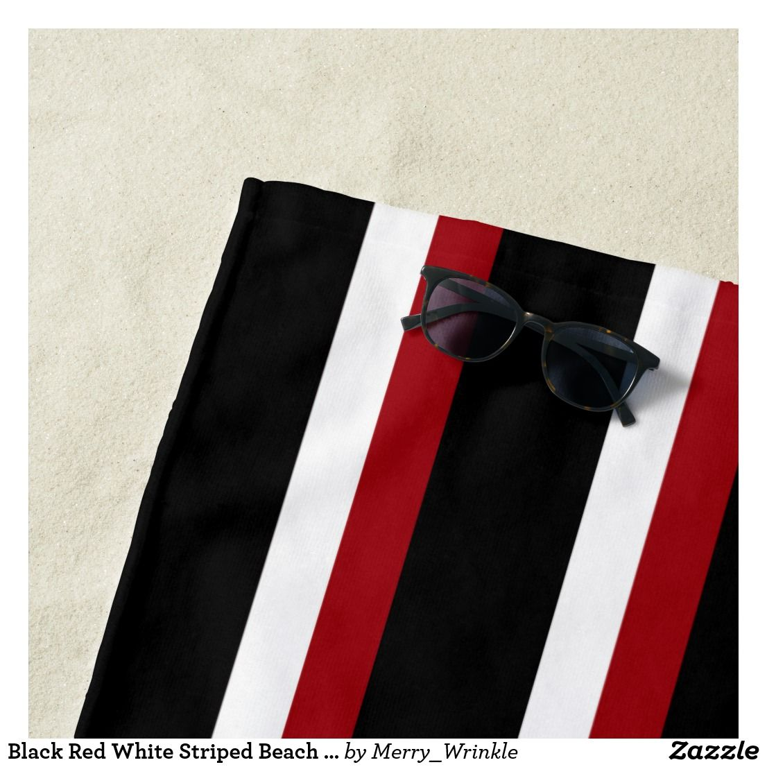 Black Red White Striped Beach Towel Zazzle Com Striped Beach