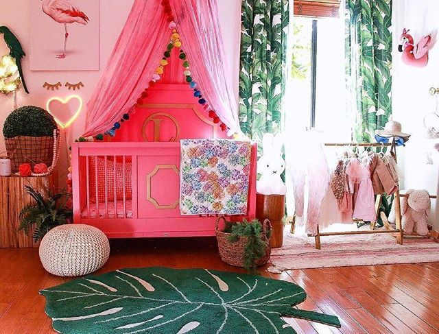Palm Springs Style Baby Room Tree And Flamingo Nursery Featuring Our Custom Beverly Conversion Crib Converts To A Toddler Bed Full