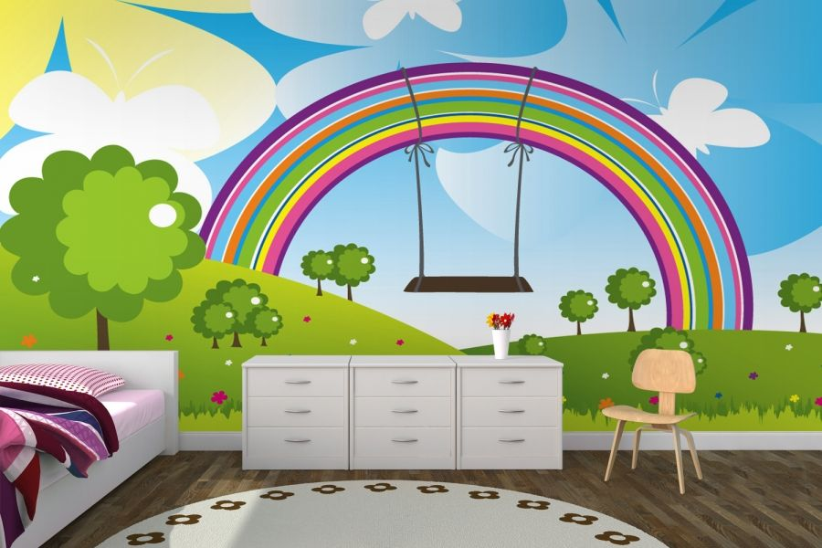 Rainbow Swing Nursery Wall Mural