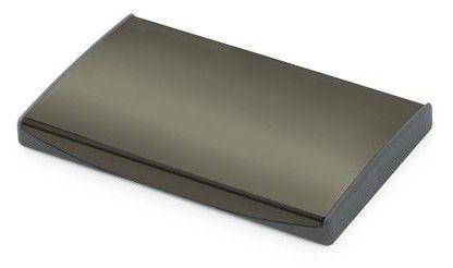 Luottokorttikotelo, tumma, design. Liikelahjaksi, logon voi lasermerkata metallipintaan.