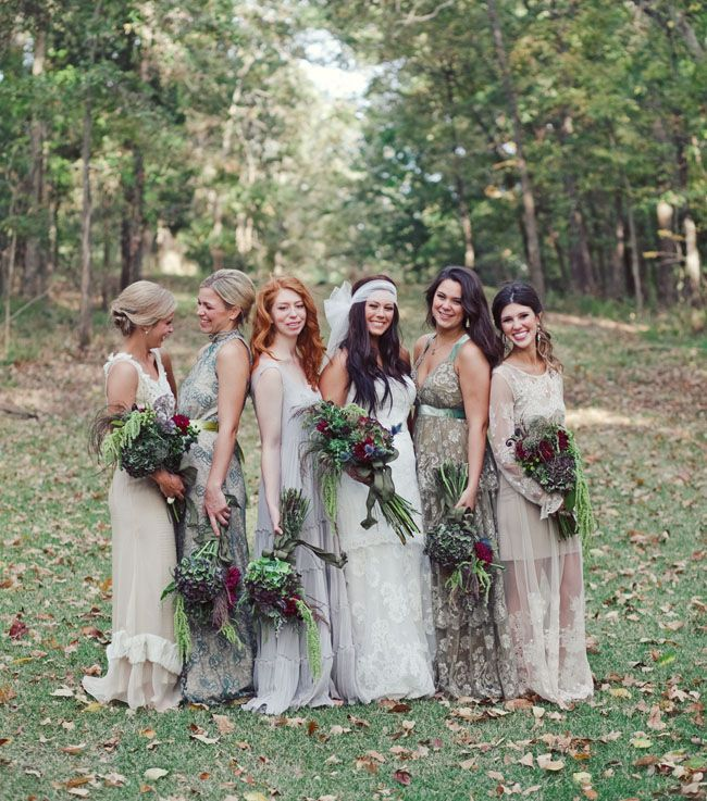 Backyard Bohemian Wedding Ideas - Mismatched Boho Lace Bridesmaid ...