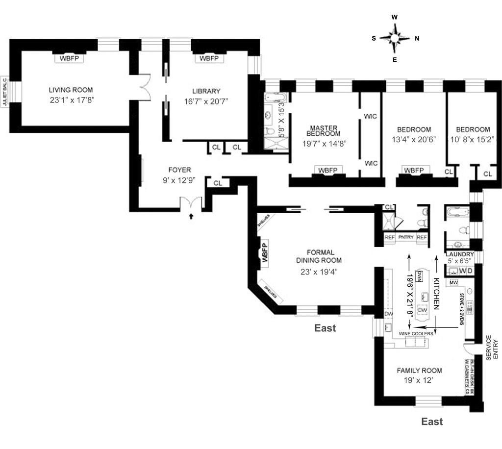 The dakota 1 west 72 street unit 67 douglas elliman for Dakota floor plan