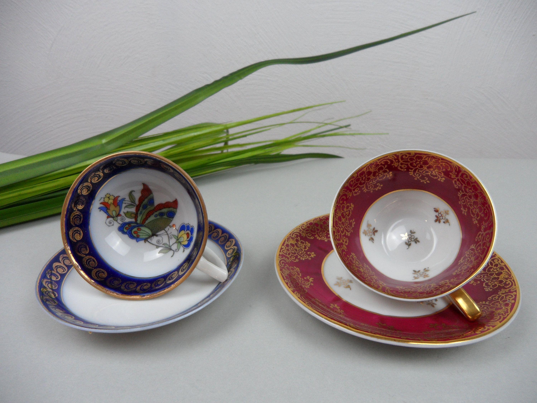 2 Kleine Espressotassen Alte Mokkatassen Rot Und Blau Altes Etsy Mokkatassen Espressotassen Tassen