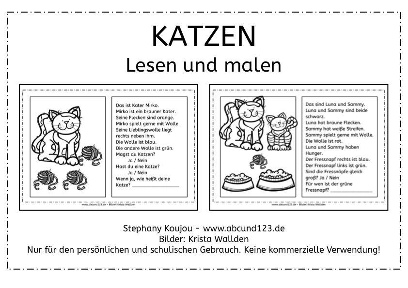 Katzen: Lesen und malen -