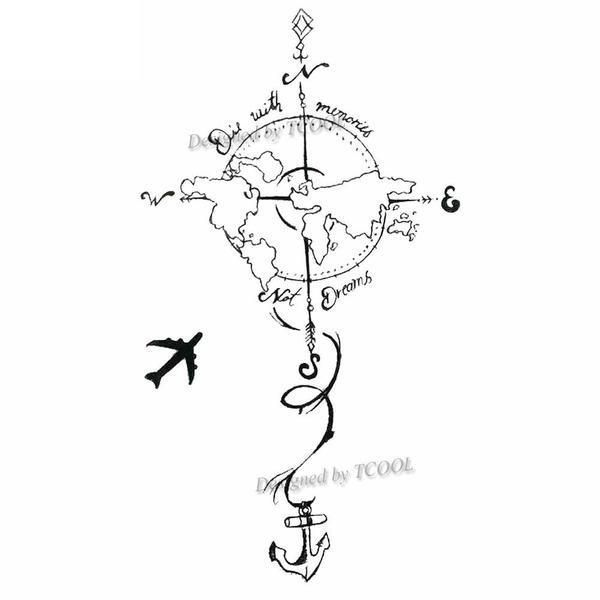 Photo of Earth circumnavigation 60x98mm – Then & When – tattoo art, temporary tattoo, arm tattoo, t …