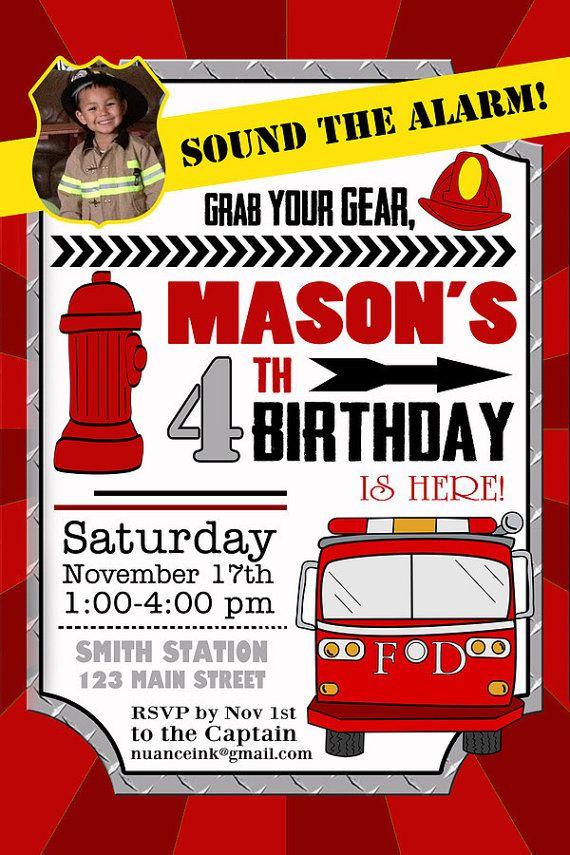 25 Custom Fireman Birthday Party Invitations Fire Station Firemen ...