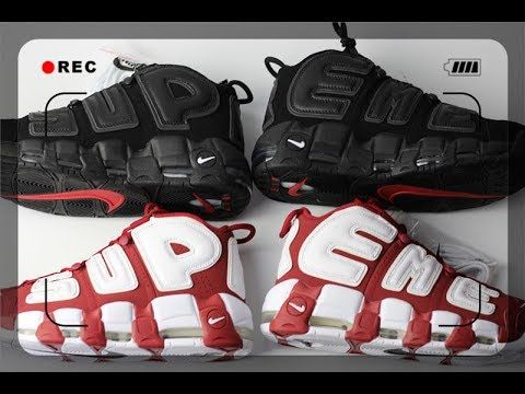 8a67e2bdeff86 Review Supreme X Nike Air More Uptempo Red  amp  Black Unboxing from  sneaker.