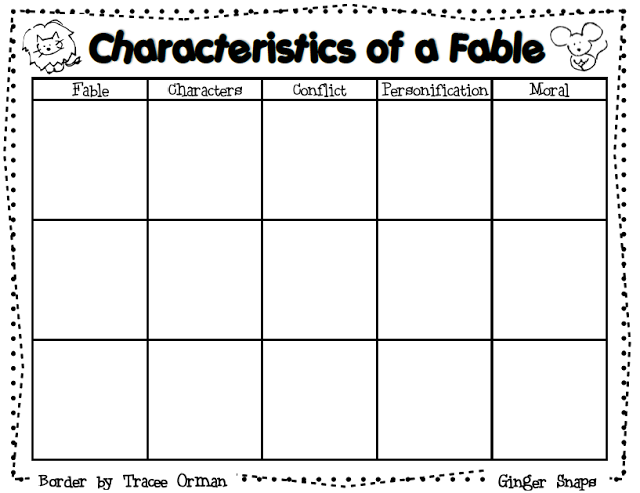 Ginger Snaps Fable Graphic Organizer And A Lesson Plan Template