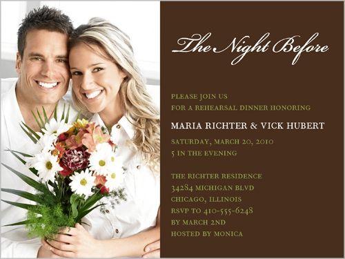 Pre Wedding Dinner Invitation: Shutterfly The Night Before Rehearsal Dinner Invitation