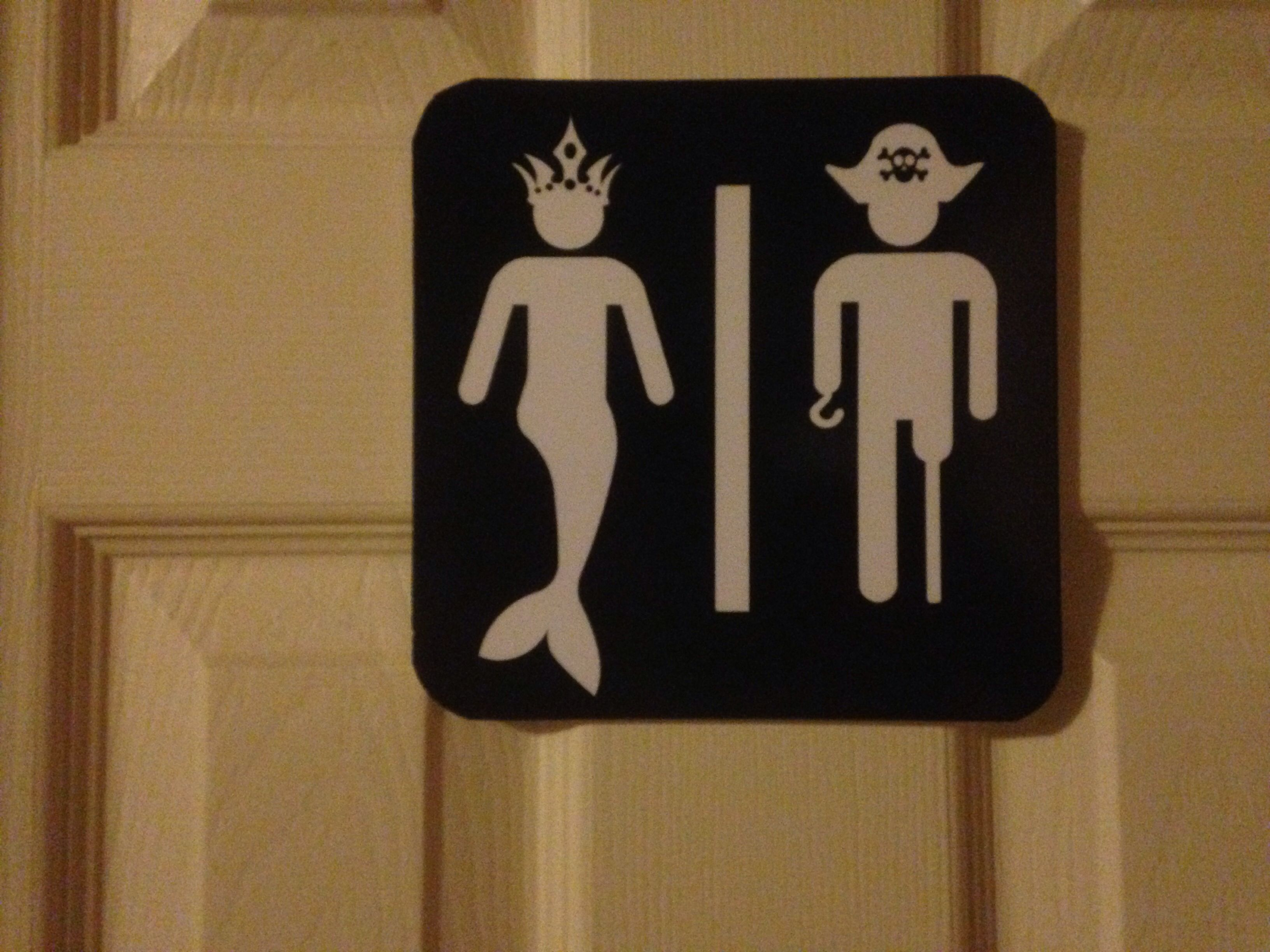 Nautical Themed Bathroom Sign. Mermaid And Pirate.  Www.facebook.com/BowSewWrite