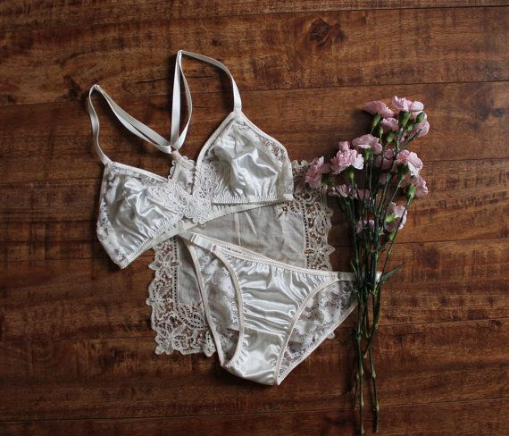 cb0f819d7dcf Modern Bohemian 'Lily' Ivory Satin and Lace Bralette and Panties Lingerie  Set Handmade to Order in Y