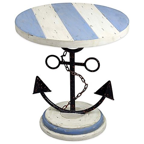 Exceptionnel Set A Course For Adventurous Style With This Wood Anchor End Table. A Metal  Anchor Base And Round Wooden Top Painted In Blue And White With A ...