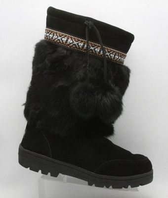 b817596d8b147 Womens MINNETONKA black Rabbit FUR suede Moccasin pom SNOW Winter ...