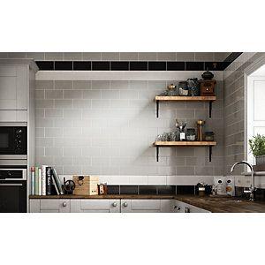 Wickes Cosmopolitan White Ceramic Tile 200 x 100mm | Ceramic wall ...