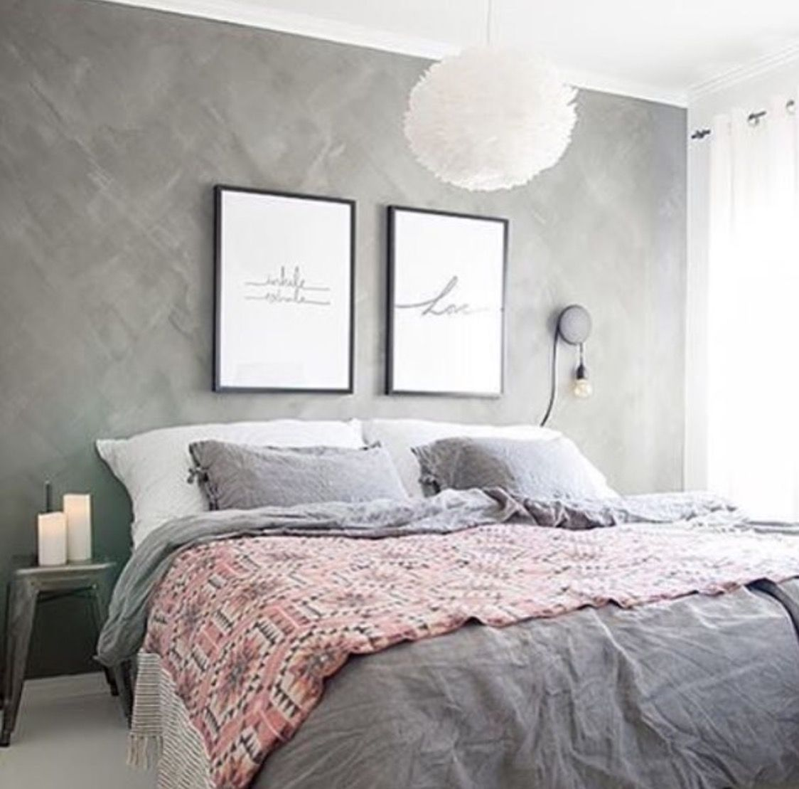 Teen S Bedroom With Feature Grey Wall And Monochrome Bed Linen: Pin By €�Just Live~ On Tumblr Room Diys