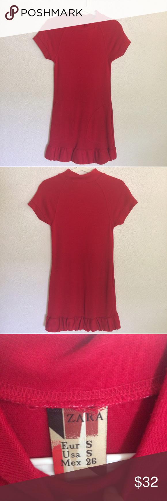 Zara red dress with ruffle hem u pockets pinterest red sweater