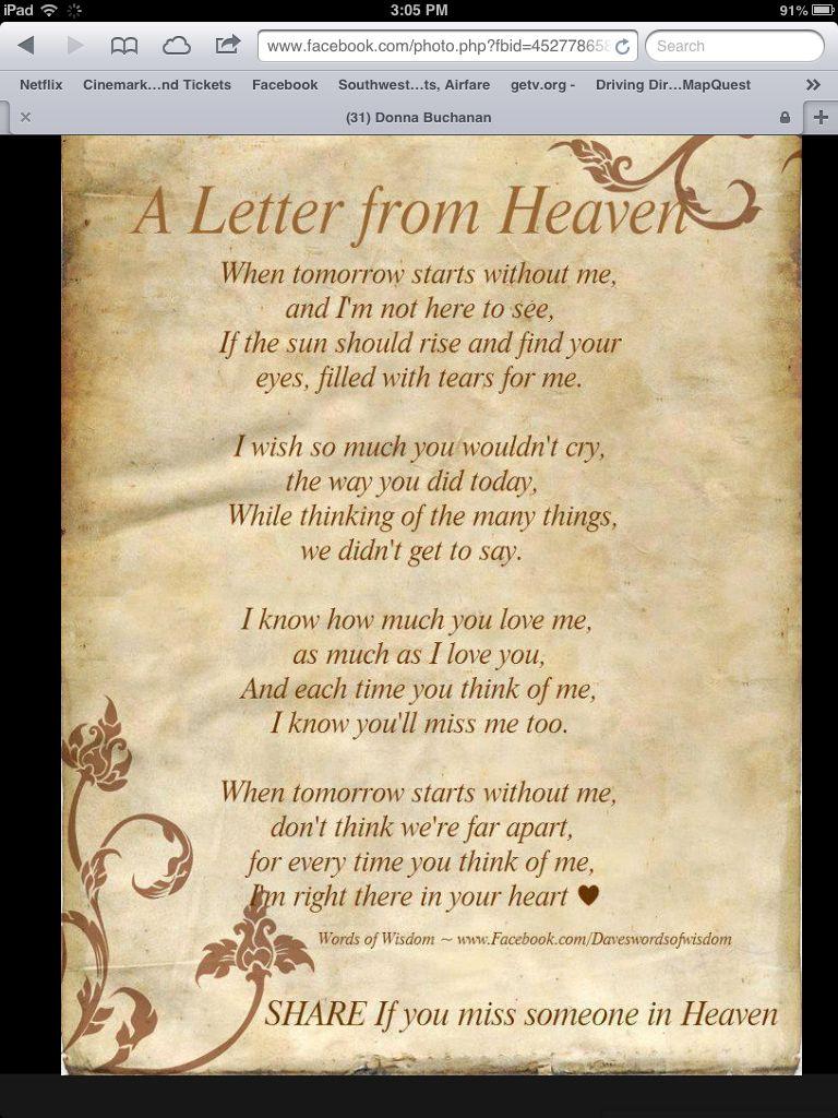 Letter from Heaven Letter from heaven, Inspirational