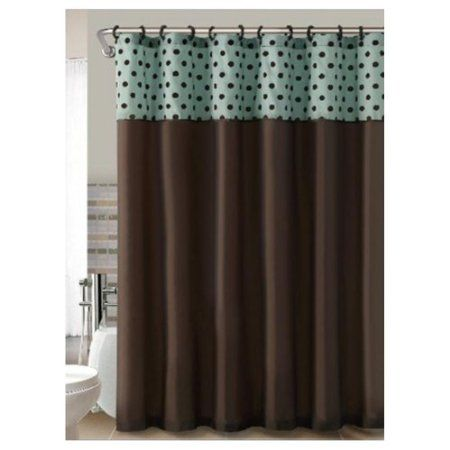 Brown Teal Flocked Polka Dots Fabric Shower Curtain Home Kitchen