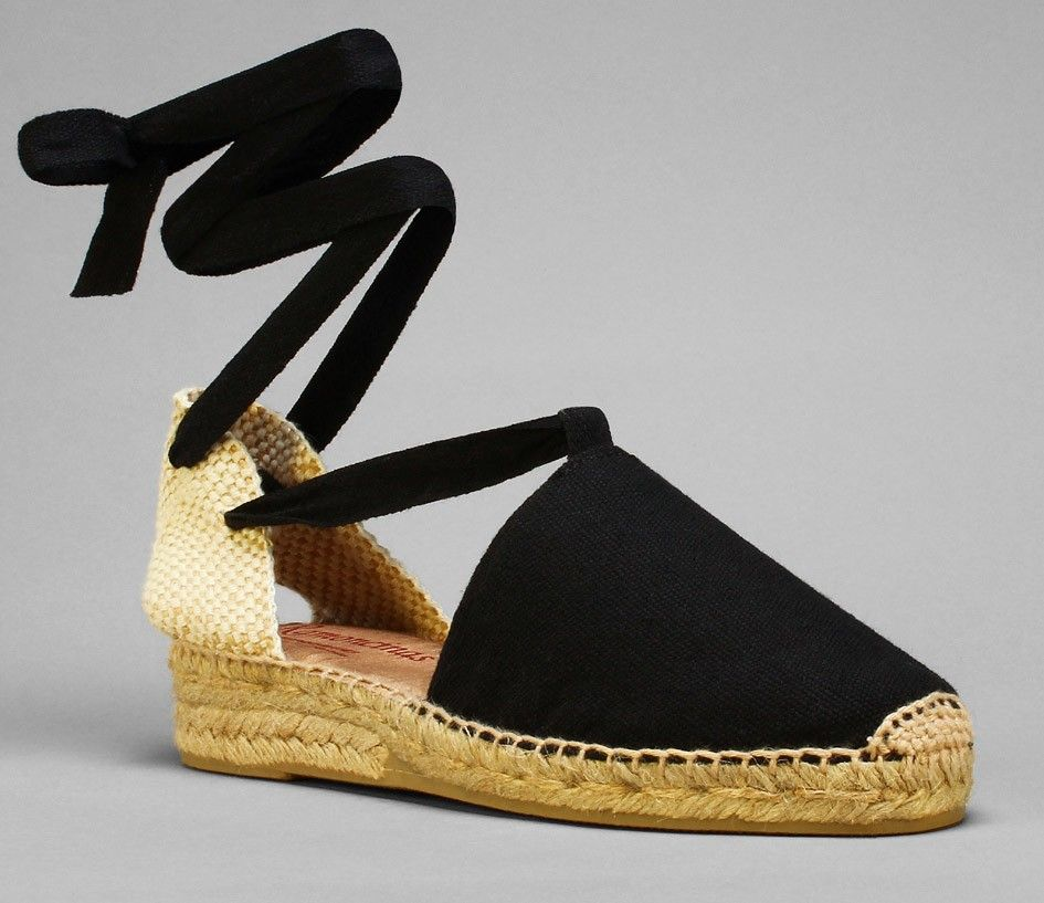 5f515f713d9 Traditional black low wedge espadrilles with laces