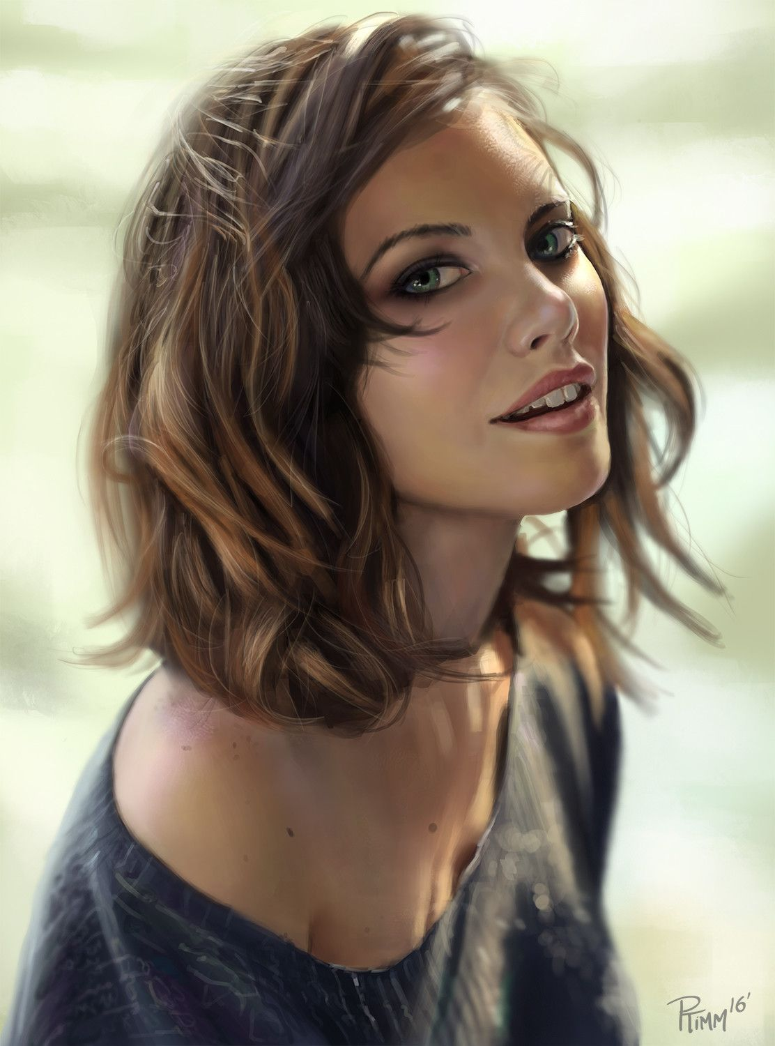 Lauren Cohan Study, Andy Timm on ArtStation at https://www.artstation.com/artwork/eDq3D