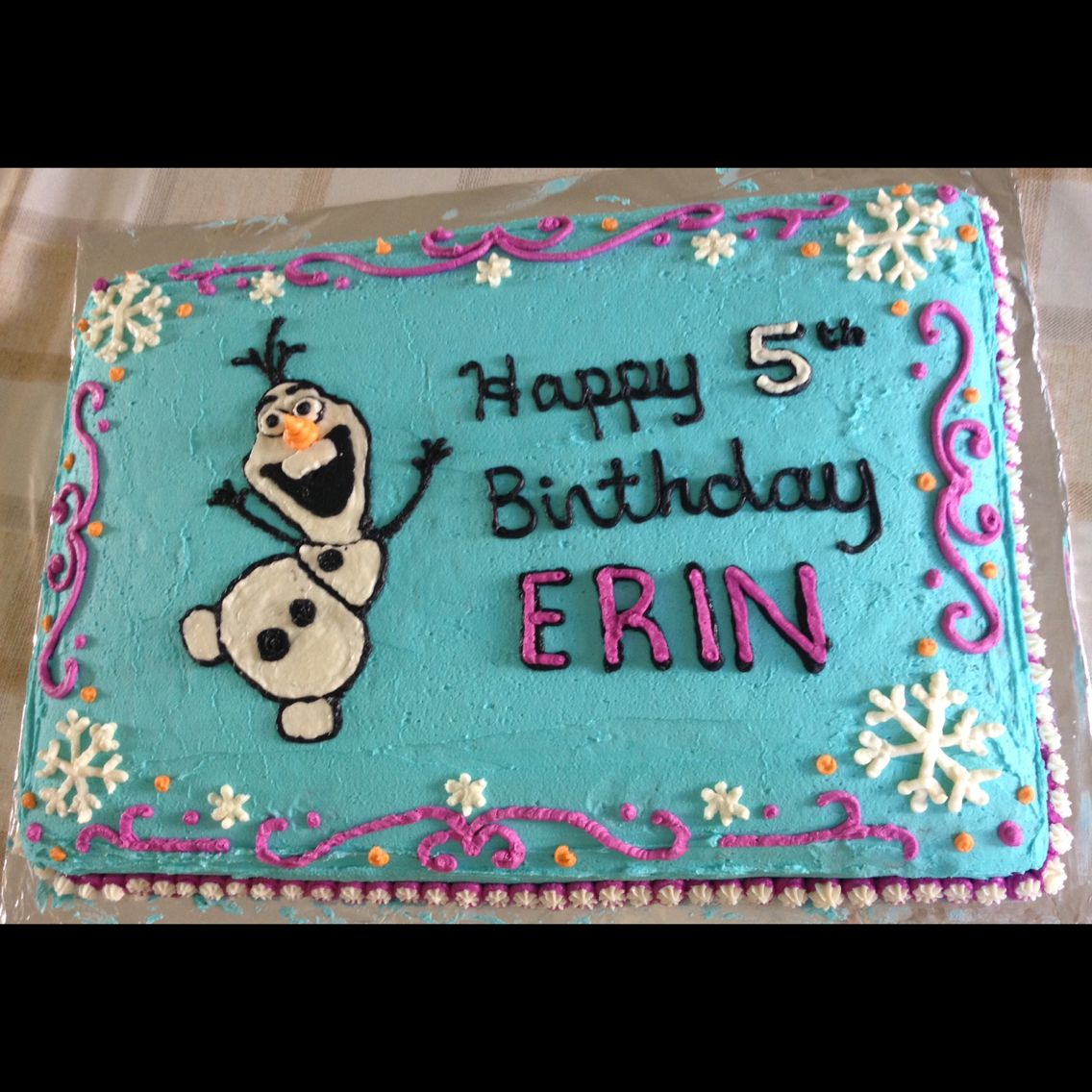 easy to make Disney Frozen theme birthday sheet cake Olaf diy