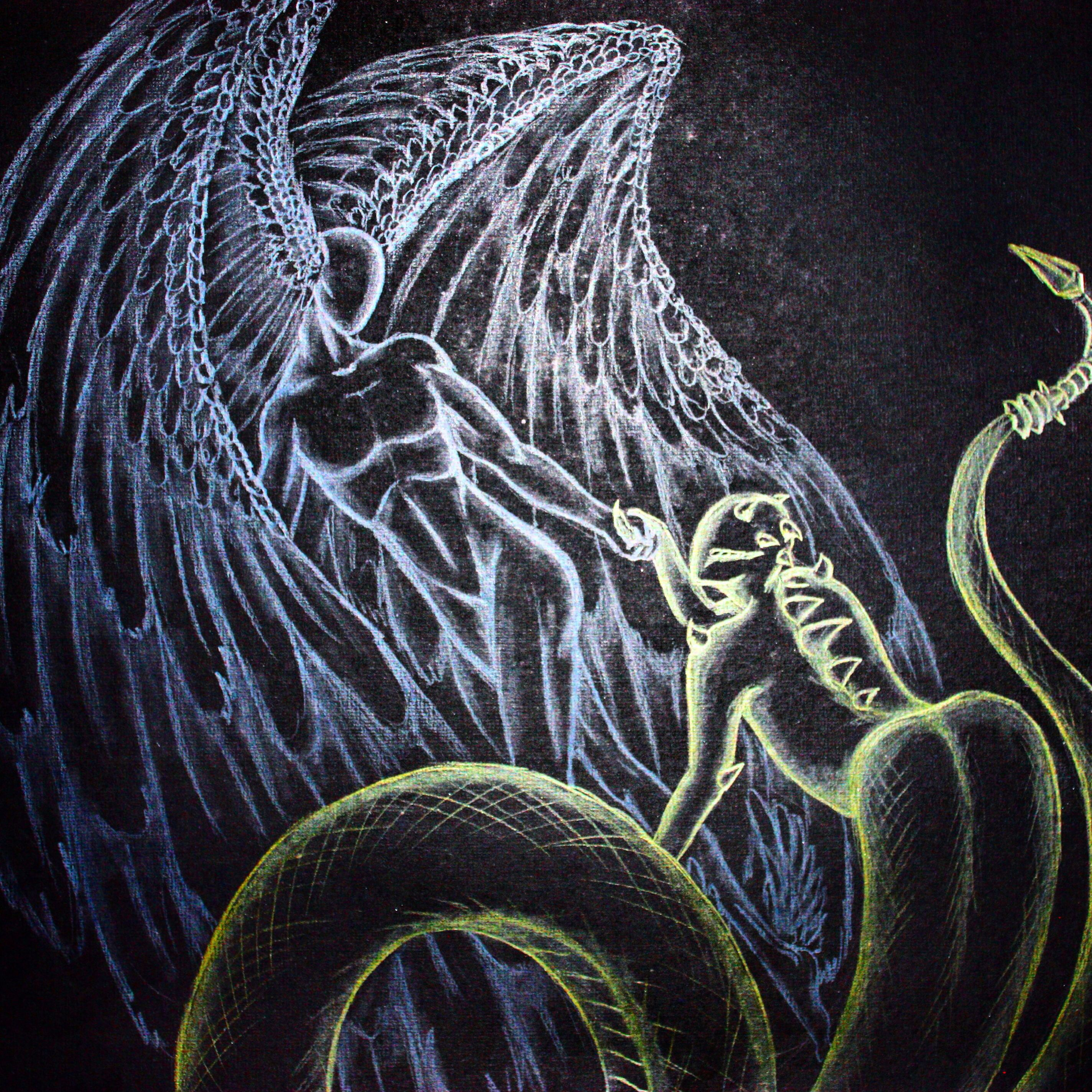 sometime i wish someone would just come here and save me, save me from my self.    #angel #demon #wings #snake #love