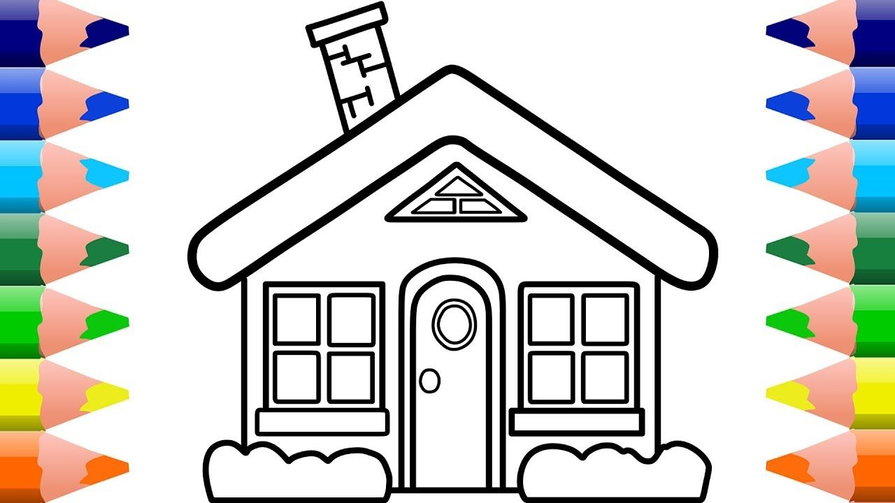 How to Draw House for Kids Coloring Pages and Learn Colors