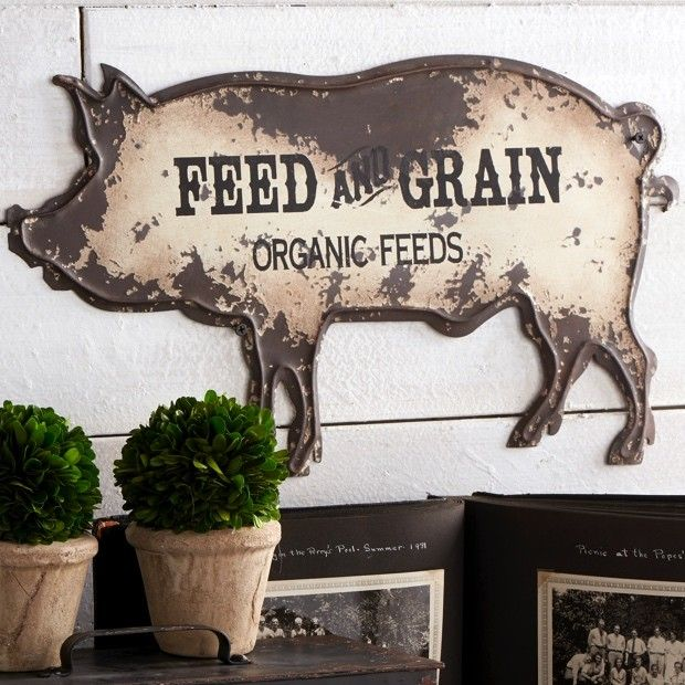 Rustic Metal Pig Shaped Wall Sign Pig Decor Pig Kitchen Decor Shabby Chic Wall Decor