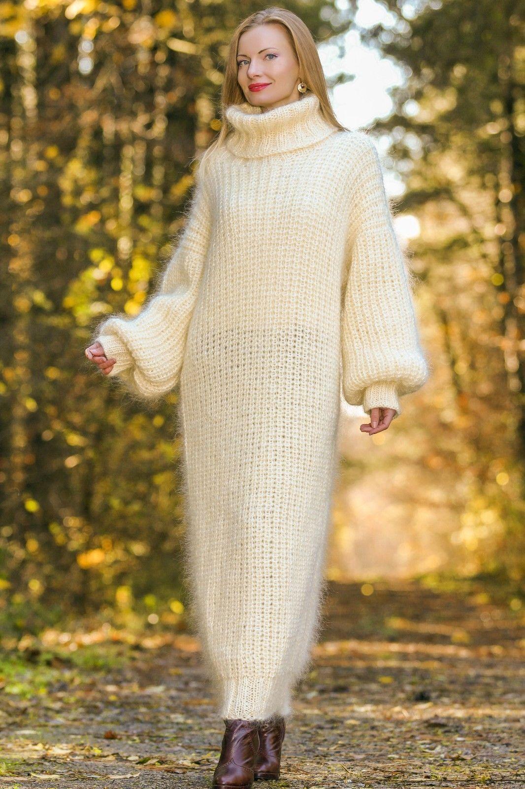 de82b3f3cea3 Supertanya Ivory Hand Knitted Mohair Sweater Slouchy Fuzzy Handmade Long  Dress
