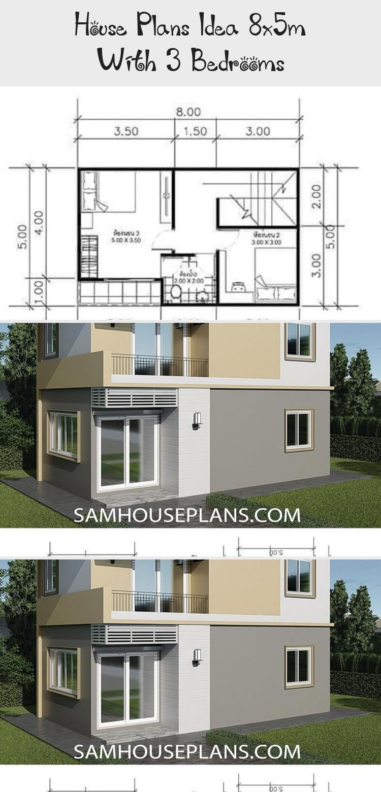 House Plans Idea 8x5m With 3 Bedrooms Sam House Plans Smallhouseplansbeach Smallhouseplanseco Smallhouseplans2000squar In 2020 Small House Plans House Plans House