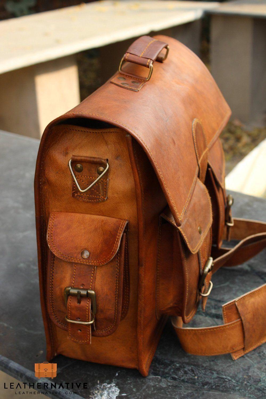 New Men/'s Genuine Vintage Leather Messenger Bag Shoulder Laptop Bag Leather Bag