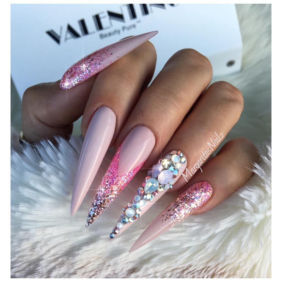 Blue glitter ombr 233 stiletto nails - Nude And Pink Stilettos Rose Gold Glitter Ombr Nail Design