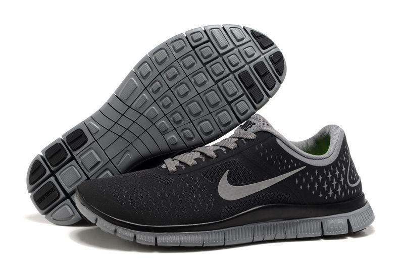 women's nike free flyknit 4.0 running shoes black and white clipart