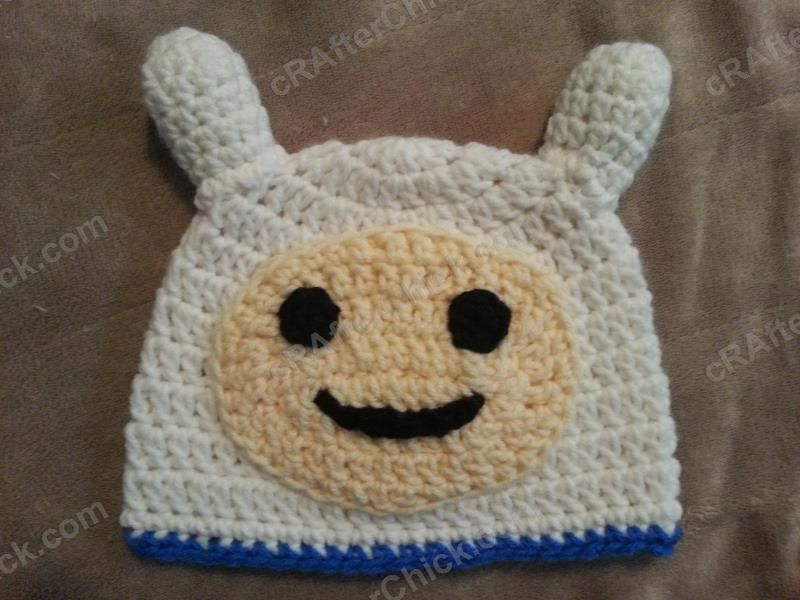 Fun crochet character hat that was inspired hat by Finn from Adventure Time…