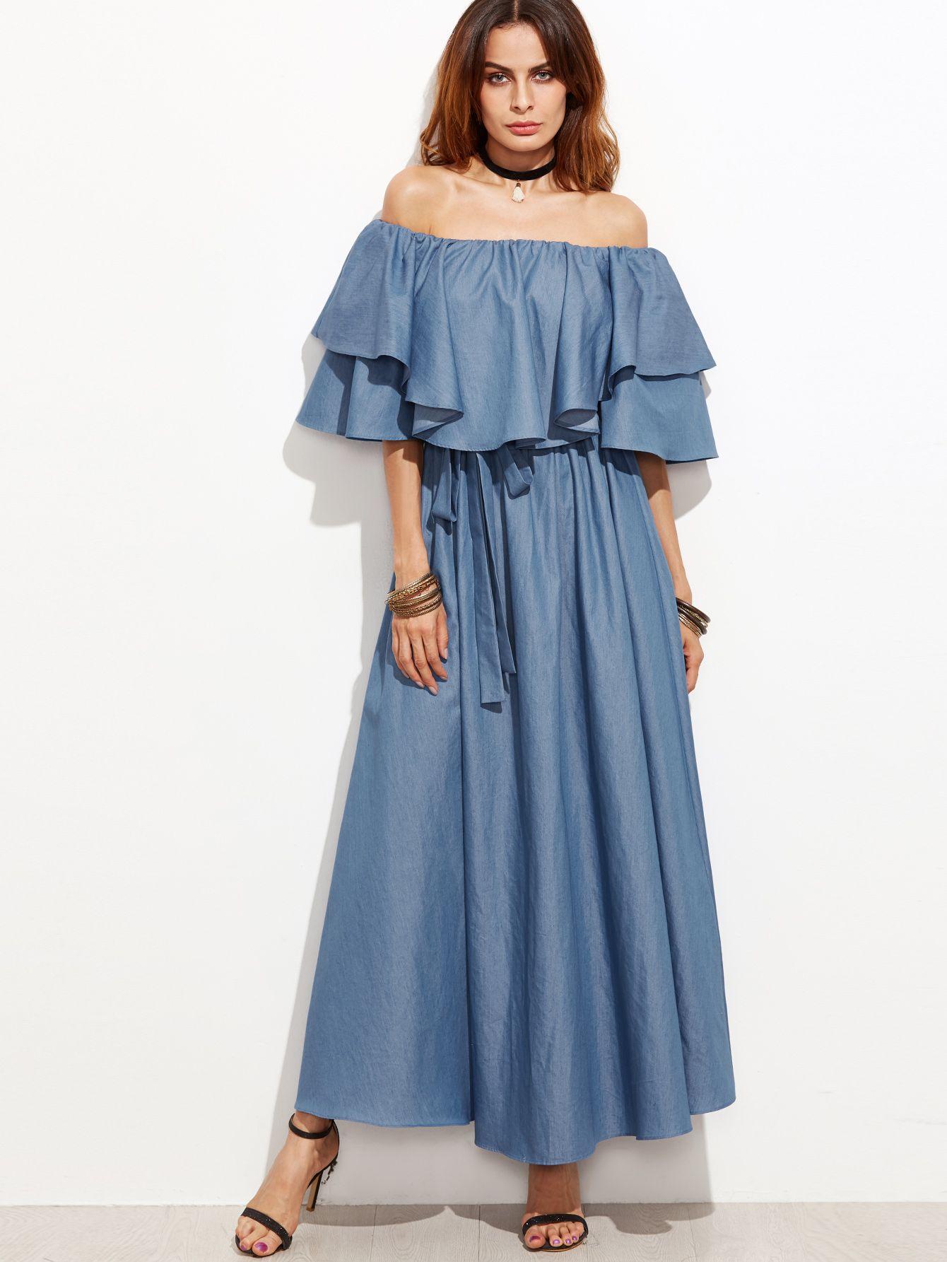 Flounce layered neckline chambray dress chambray dress chambray