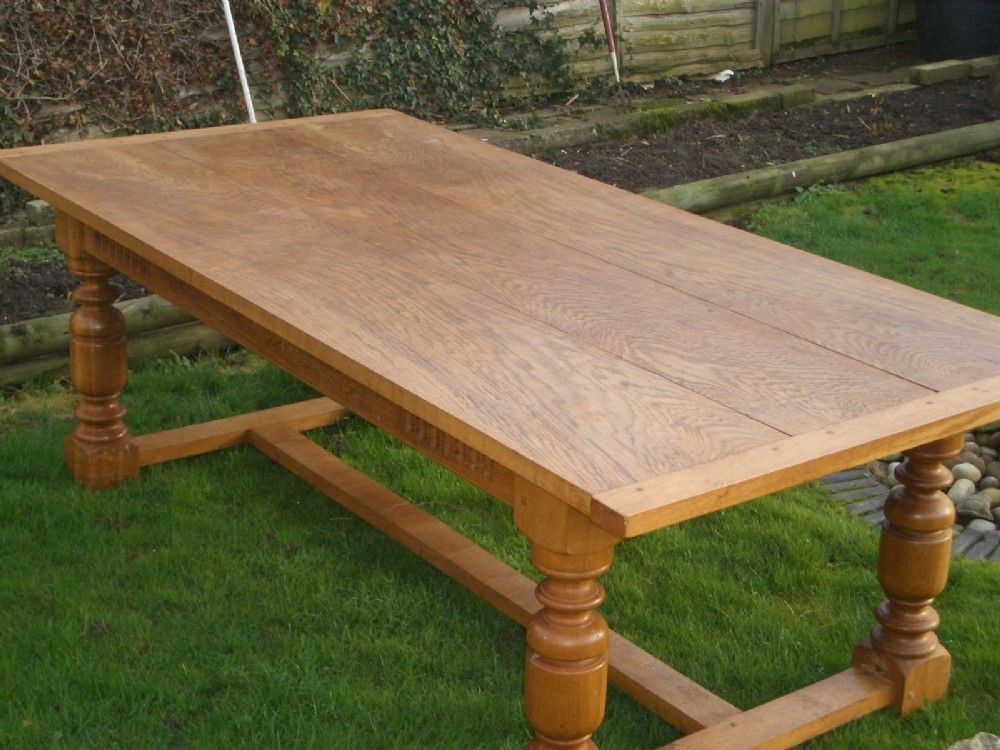 Antique French Farmhouse Light Oak Hand Made Dining Table