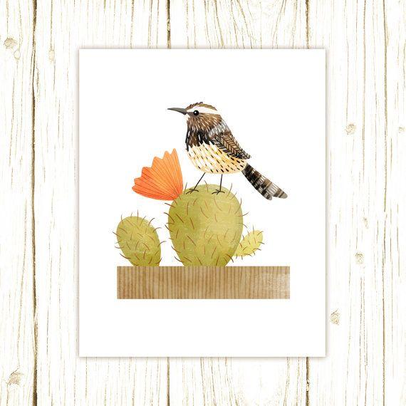 Cactus Wren Print bird art bird art 52 by TheFoxandTheTeacup   Birds ...