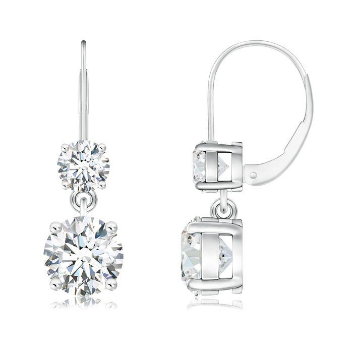 Angara Leverback Round Diamond Flower Dangle Earrings lef9M5pz